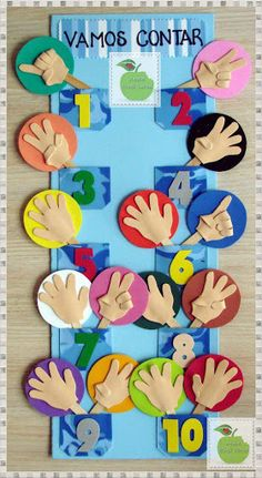 PAINEL PEDAGÓGICO PARA APRENDER A CONTAR – EVA The numbers were created based on the number of our fingers, for this reason, that the numerical base is I found this image interesting to teach students in the early years to count. Kindergarten Math, Preschool Activities, Preschool Projects, Felt Projects, Sewing Projects, Craft Projects, Math For Kids, Crafts For Kids, Busy Book