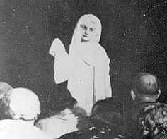 To the left is photo of Queen Astrid who materialized during a seance in Copenhagen, Denmark.