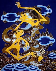 Wayang Blue Wall Decorative Fabric Rama and Shinta Figure Batik Pattern, Shadow Puppets, Blue Walls, Cute Illustration, Fabric Decor, Folk Art, Sai Ram, Artist, Ghost Stories