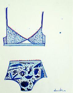 The Desert Bikini by Dorothy Shain, as part of The Bikini Series. Gouache & watercolor on paper.
