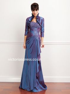 A-line Strapless Elastic Woven Satin Mother of Bridal Dress With Beading