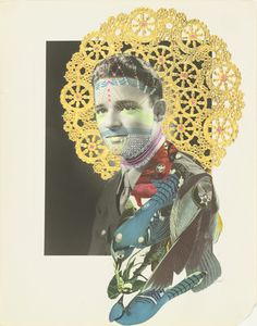 A.K. Burns (Aisha Khalilah Burnes) - Decorated Soldier, 2004. Cut-and-pasted printed paper, doily, and gel-ink pen on gelatin silver print.