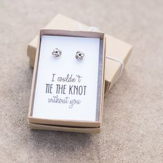 "What a perfect way to ask ""will you be my bridesmaid?"" Our bridesmaid earrings make great bridal party gifts, or a special maid of honor gift. Pair with other bridesmaid jewelry, or add to a bridesmaid gift set."