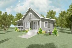 A screened porch runs along the entire left side of this cozy house plan with a cottage vibe to it.A shed roof provides protection as you enter through the French doors to the great room. The kitchen is open to this space and a peninsula gives you ca Cottage Floor Plans, Lake House Plans, New House Plans, Small House Plans, House Floor Plans, Small Cottage Plans, Guest House Plans, 2 Bed House, Loft House
