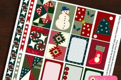 Free Printable Quilt inspired Christmas Stickers Kit for Happy Planner Boxes