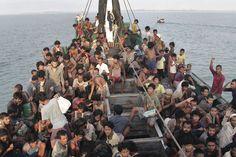 <p>VENTER PÅ Å BLI REDDET: Flyktninger fra Rohingya-minoriteten utenfor kysten av Aceh i Indonesia.</p>