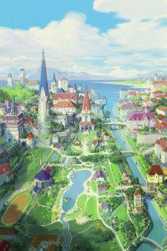 City Sea by JaeCheol Park (Paperblue) Fantasy Art Landscapes, Landscape Drawings, City Landscape, Fantasy Landscape, Fantasy Town, Fantasy World, Fantasy Concept Art, Fantasy Artwork, Anime City
