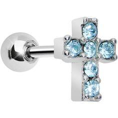 Aqua Gem Sparkling Cross Cartilage Tragus Earring | Body Candy Body Jewelry
