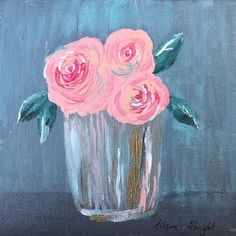 """""""Spring Bouquet"""" Original watercolor painting of a bouquet of spring roses. I absolutely love pink roses and hope this painting embodies that love. Size of painting is 6"""" x 6"""" on flat, acrylic canvas board. Your painting will be lovingly sent to you via USPS in a fortified #smallcanvaspainting"""