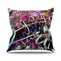 KESS InHouse Crazy Day by Gabriela Fuente Rainbow Abstract Throw Pillow Size: