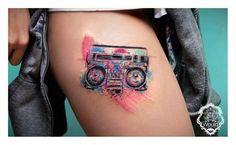 Tattoo - Watercolor - Aquarelle - Music - Thigh