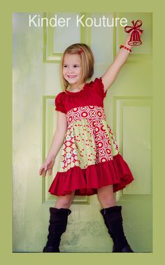Girls Christmas Peasant Dress -  @Ryan Sullivan Morgan will you make this for Olivia??