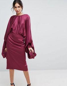 ASOS Extreme Sleeve Satin Midi Pencil Dress