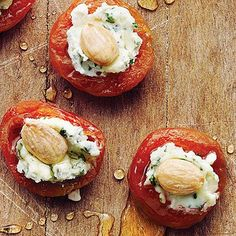 Apricots with Basil-Goat Cheese and Almonds, presentation could be much better, these would be very yummy.