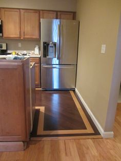transition wood floors to kitchen