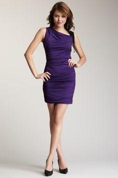 Jessica Simpson Tie Shoulder Ruched Dress