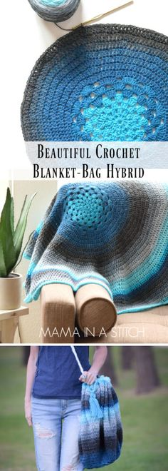 How to crochet a blanket that turns into a bag! So easy and practical. There's a free pattern and picture tutorial as well. #crafts #diy #freepattern #crochet #knitting