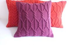 Hand knit cushion cover fuchsia purple knitted by Adorablewares