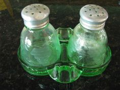 Vintage Green Depression Glass Salt Pepper Shakers