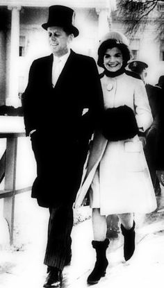 John F. and Jacqueline Kennedy on the Day of the Inauguration - Love the boots and the muff!