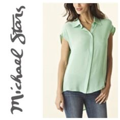 Michael Stars 100% silk blouse Brand new tag still attached - beautiful Aqua/teal color --- offers welcomed Michael Stars Tops Blouses