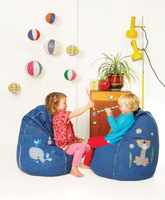 Timmy Tiger bean bag and Mr Whale bean bag...in denim make a great team!
