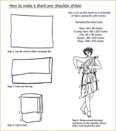 How to make a short one-shoulder chiton - Artemis Ancient Greek Dress, Ancient Greek Costumes, Ancient Greek Clothing, Greek Chiton, Costume Patterns, Historical Clothing, Fashion History, Clothing Patterns, Fabric