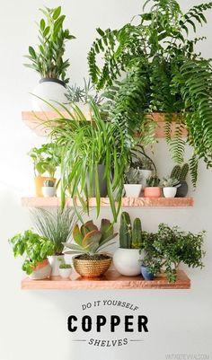 Exhibe tu colección de plantas (o *cualquier* colección) en los estantes de cobre DIY.