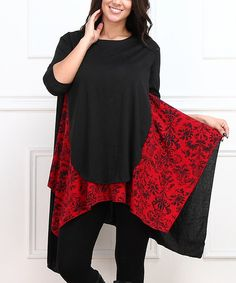 Loving this Black & Red Floral Sidetail Tunic - Plus on #zulily! #zulilyfinds