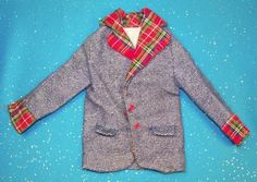 1973 Ken Best Buy Fashions 8618 Blue Flannel Jacket w Red Plaid Collar Cuffs Jacket Only  | eBay