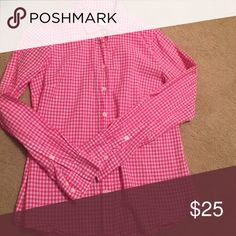 J. Crew gingham top The perfect fit shirt in perfect condition! Not factory. J. Crew Tops Button Down Shirts