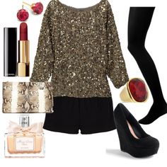 Cold winter party outfit - shorts, tights, sequins