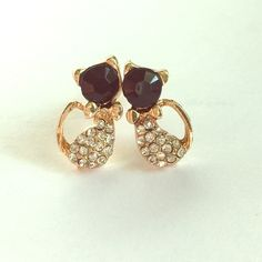 Gold Black Rhinestone Stud Earrings Small cat/kitten earrings with little bow and rhinestone accents. Brand-new, never worn. Jewelry Earrings