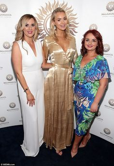 Poster girl: The statuesque blonde is fronting the new Bellamianta tanning range . Gold Gown, Gold Dress, Calum Best, Ibiza Fashion, Host A Party, Social Events, Latest Pics, Party Fashion, Gowns