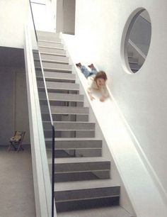 Staircase slide by London architect Alex Michaelis. Staircase slide by London architect Alex Michaelis. Room Interior, Interior Design Living Room, Stair Slide, Stairs With Slide, Indoor Slides, Escalier Design, House Stairs, Basement Stairs, Staircase Design