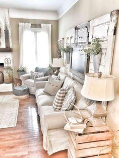 #modernfarmhousedecoratingideas Modern Farmhouse Living Room Decor, Shabby Chic Living Room, Rustic Farmhouse, Farmhouse Style, Farmhouse Design, Country Living, Farmhouse Ideas, Modern Living, Bohemian Living