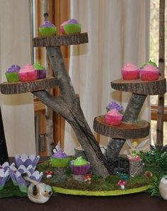 Wood cupcake stand at a Tinkerbell & Fairies Birthday Party!  See more party ideas at CatchMyParty.com!