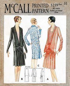 McCall 5239 1920s 1928 drop waist dress vintage sewing pattern repro