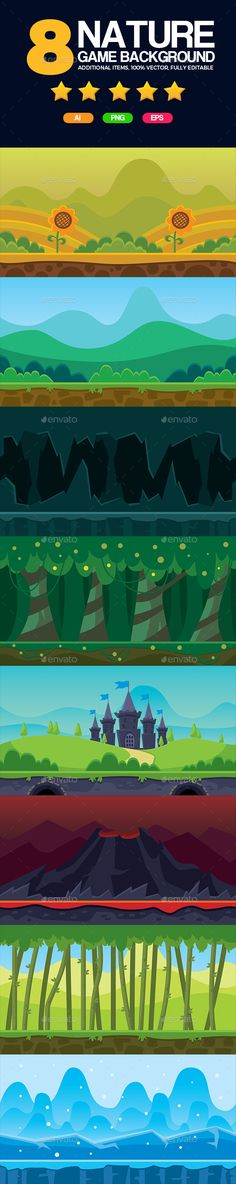 8 Set Game Backgrounds — Vector EPS #vector #hills • Available here → https://graphicriver.net/item/8-set-game-backgrounds/16750809?ref=pxcr