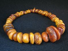 Antique natural amber beads strand. Morocco. Available!