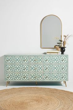 Moroccan Inlay Nine-Drawer Dresser by Anthropologie in Grey Size: All, Tables Hanging Furniture, Painted Furniture, Bedroom Furniture, Diy Furniture, Furniture Design, Bedroom Decor, Patterned Furniture, Antique Furniture, Outdoor Furniture