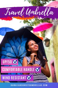 Don't settle for another boring black umbrella. Stand out from the crowd and look good in any weather! Finally, a travel umbrella compact that looks great for photos and shelters you from the rain, the wind & the sun! UPF 50 protection keeps you cool when it is sunny and hot! Comfortable handles and the more expensive pongee fabric are more Eco-Friendly than the cheaply made polyester fabric used in most umbrellas. #spfprotection #umbrellart #umbrellaphotography #uvprotection #travelgear Uv Umbrella, Small Umbrella, Best Umbrella, Compact Umbrella, Black Umbrella, Travel Umbrella, Folding Umbrella, Wind Resistant Umbrella, Rain