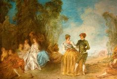 Courtly scenes with dancing couple, ca 1725 - Jean-Baptiste Pater (1695-1736)