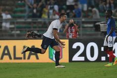 Graziano Pelle of Italy celebrates after scoring the goal during the international friendly match between Italy and France at Stadio San Nicola on September 1, 2016 in Bari, Italy.