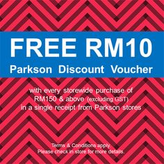 Parkson Malaysia Are Having Their Free Discount Voucher Promotion Now.  Enjoy Free Parkson Discount Voucher With Every Storewide Purchase Of U0026  Above ...  Free Discount Vouchers