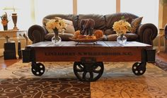 Vintage Restored Lineberry Factory Cart (Daisy Wheel) - Coffee Table by Keeriah on Etsy https://www.etsy.com/listing/188694097/vintage-restored-lineberry-factory-cart