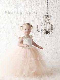 Blush and Ivory Flower Girl Tutu Dress   Capped Sleeve Style