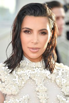 Short, Wavy Hairstyles That Will Make You Ditch Your Flatiron - Kim Kardashian West from InStyle.com