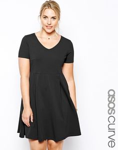 45a59eb5835 CURVE Skater Dress With Seam Detail And V-Neck. Asos CurvePlus Size Fashion  For WomenPlus ...