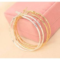 Large Silver Plated And 18K Gold Plated Hoop Earrings